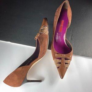 Carolina Herrera Brown Suede D'Orsay Heels